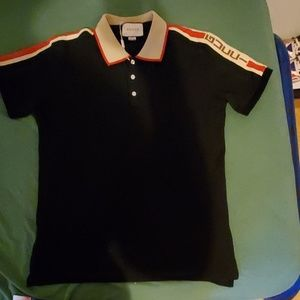 Gucci men polo large Gucci on sleeve
